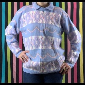 80s Vintage Pastel Collared Sweater
